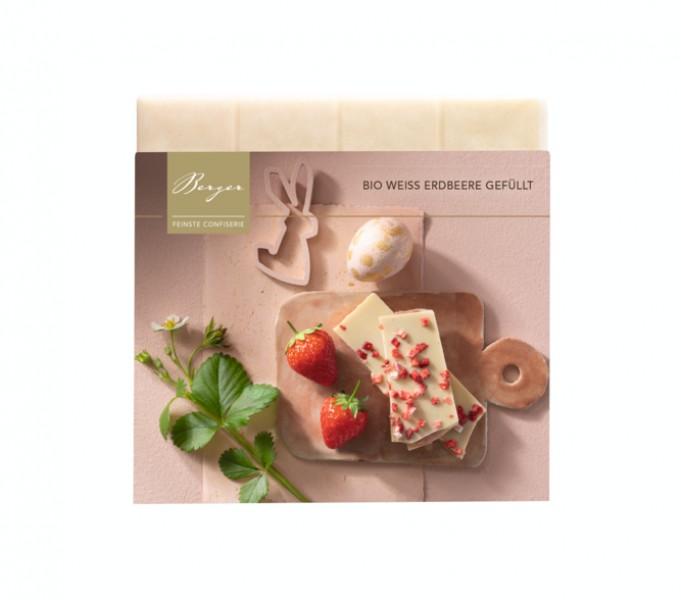 Schokoladentafel Weiß Erdbeere gefüllt